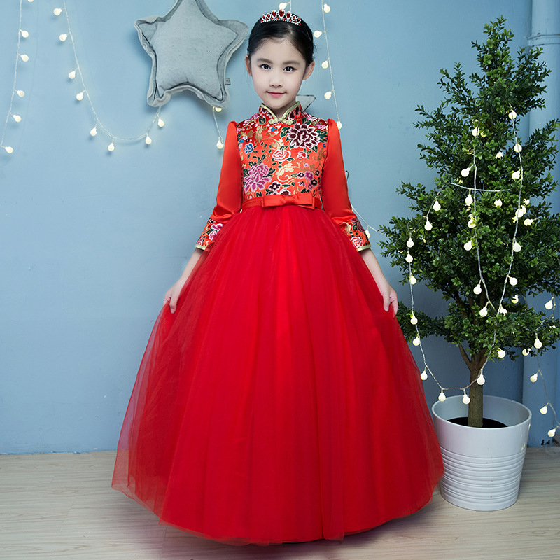 Chinese Style Elegant Girls Gown Dress Quarter Sleeve Embroidered Kids Ball Gown Dresses Communion Birthday Party Dress flounce sleeve embroidered mesh dress