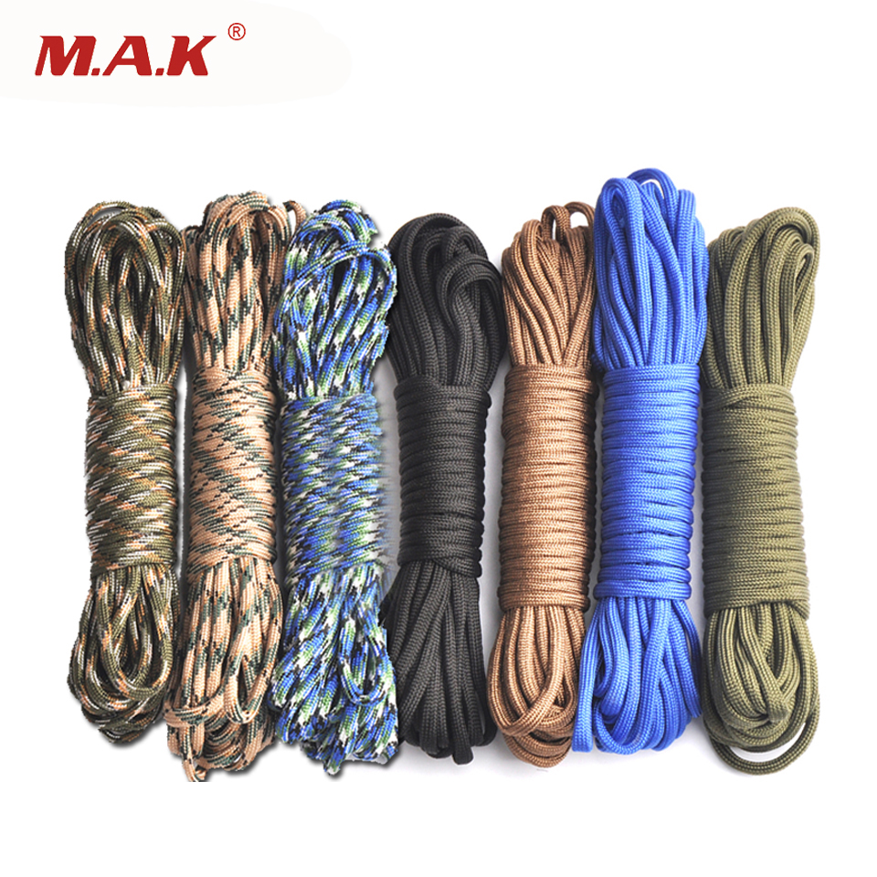 цена High Quality Outdoor Climbing Camping 25/50/100ft Paracord 550 Parachute Cord Lanyard Rope Survival Rope