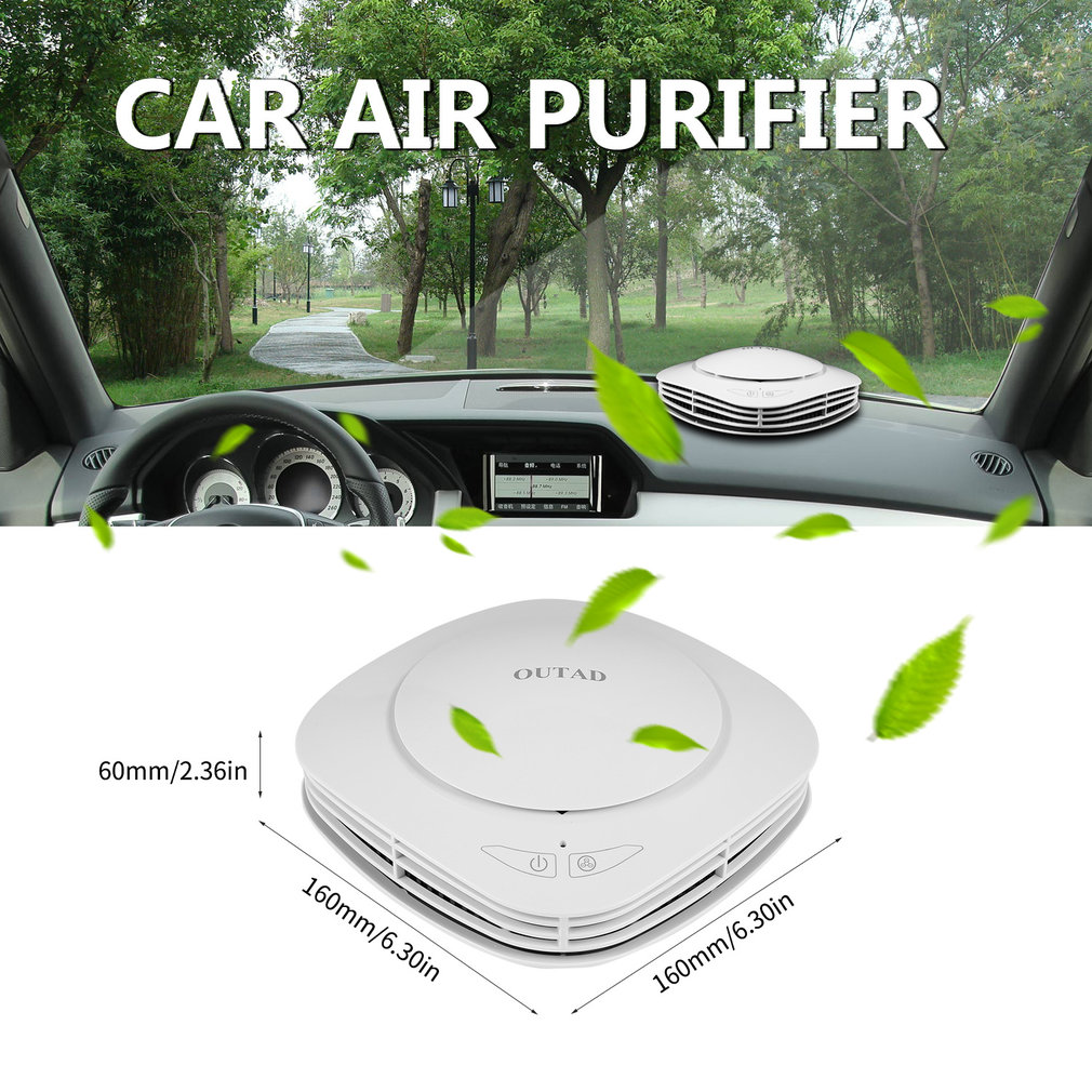 OUTAD Air Freshener Cleaner Car Air Purifier With Negative Ion Generator Activated Carbon Integrated Filter Aroma Storage Box car outlet perfume air freshener with thermometer lime