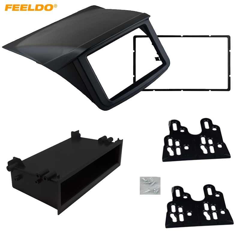 FEELDO 2DIN Installation Trim Kit Face Frame Fascia For Mitsubishi Pajero Sport Triton L200 Radio DVD Stereo Panel Dash #AM1641 liislee 2 din plastic frame panel for alfa romeo giulietta 940 2010 2016 aftermarket radio stereo dvd gps navi installation