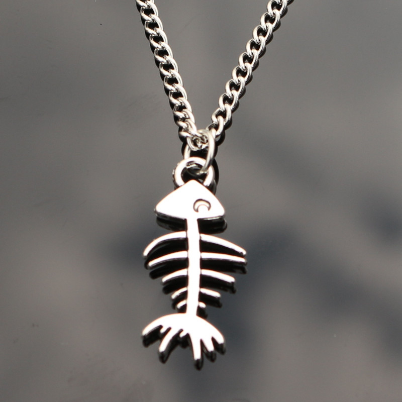 N992 cute fish bone pendant necklaces bijoux collares for for Fish skeleton necklace