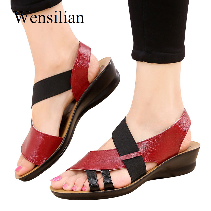 Summer Sandals Women 2018 Ladies Flat Sandals Slip-On Shoes Leather Women Peep Toe Shoes Soft Female Slippers Sandalias Mujer drkanol women sandals 2018 genuine leather flat gladiator sandals for women summer casual shoes peep toe slip on vintage sandals