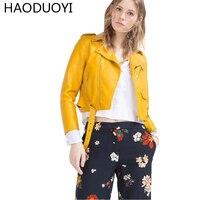 HAODUOYI Frauen Pu-leder Kurze Jacke 2017 Herbst Mode frauen Reißverschluss Damen Grund Jacken Schlanke Frauen Mäntel Outwear