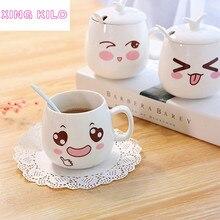 XING KILO креативная Милая чашка с крышкой керамическая ложка большая емкость чашка для молока кружка для кофе кружка в красивом исполнении
