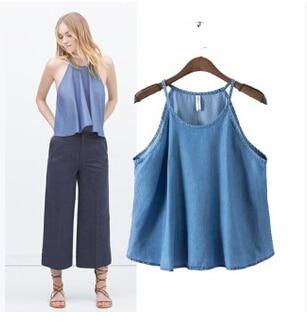 Hot Sale Street Fashion 2015 Summer New Womens Blue Loose Sleeveless camisole Tencel Halter neck Denim Tops A-line Shirt Tees