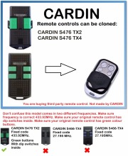 CARDIN S476 TX2, TX4, Remote Control Duplicator 4-Channel 433.92MHz..(only for 433.92mhz fixed code)