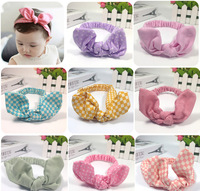 2015 New elastic girl top knot fashion bunny ears bow hairband kids hair accessories cotton headband many colors 10ps/lot