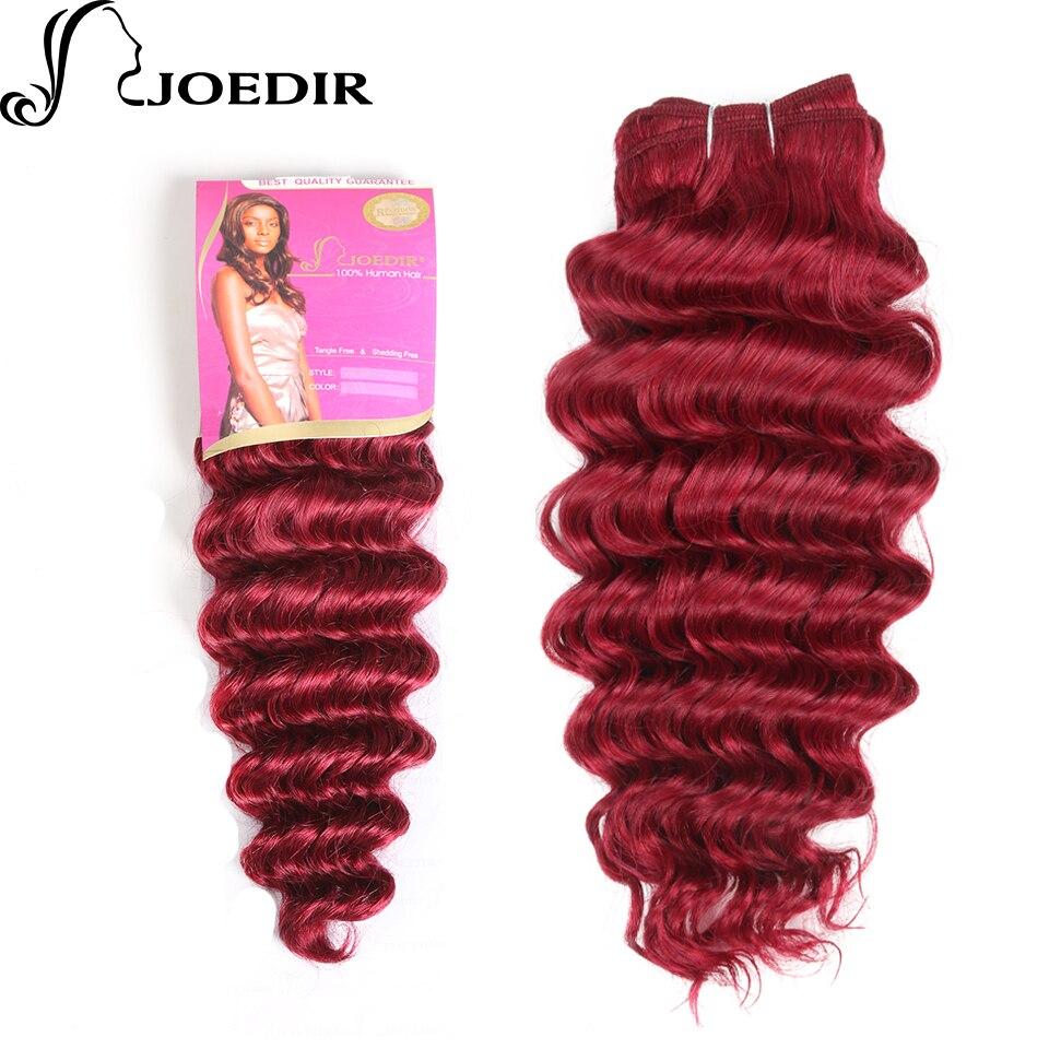 Joedir Pre-Colored Deep Wave Indian Human Hair 1 Bundle Burgundy Hair Extensions 100g Hair Weave Bug# Hair Weft