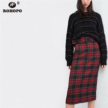 ROHOPO Plaid Midi Pencil Skirt Belted Vintage Autumn High Waist Hobble Skirt Ladies Gothic Falda #UK8673 grommet belted waist plaid wrap skirt