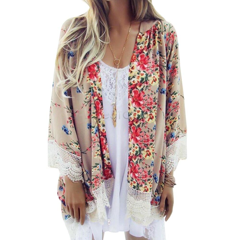 Patrón Floral de Las Mujeres de moda de Encaje Impreso Kimono Cardigan Camisa de