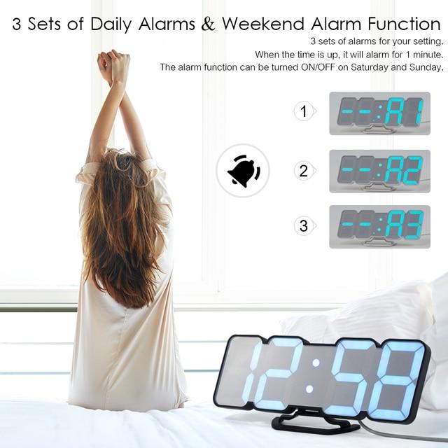 Upgrade 3D Remote Control Digital Wall Clock 115 Colors LED Table Clock Time Alarm Temperature Date Sound Control Night Light 4