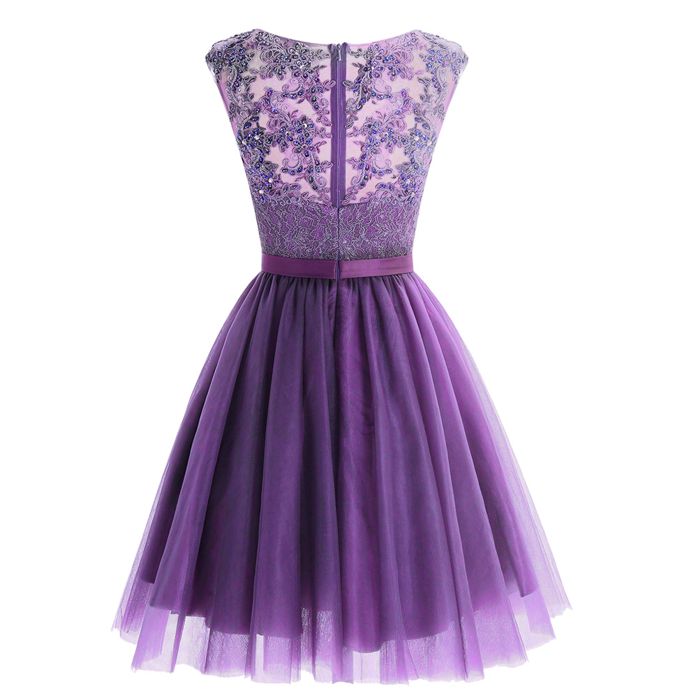 Image 3 - Cute Short Purple Homecoming Dress 2019 Mini Beaded Lace Homecoming Dress Tulle Homecoming Gown Crystal Cheap Graduation Dress-in Homecoming Dresses from Weddings & Events