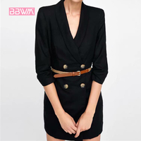 2018 autumn new suit style dress lapel double breasted suit dress female