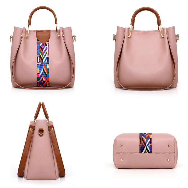 4 Pcs/Set Women Lady Leather Shoulder Bag Handbag Satchel Top Handle Bag Hobo Clutch Card Coin Holder Purse Wallet