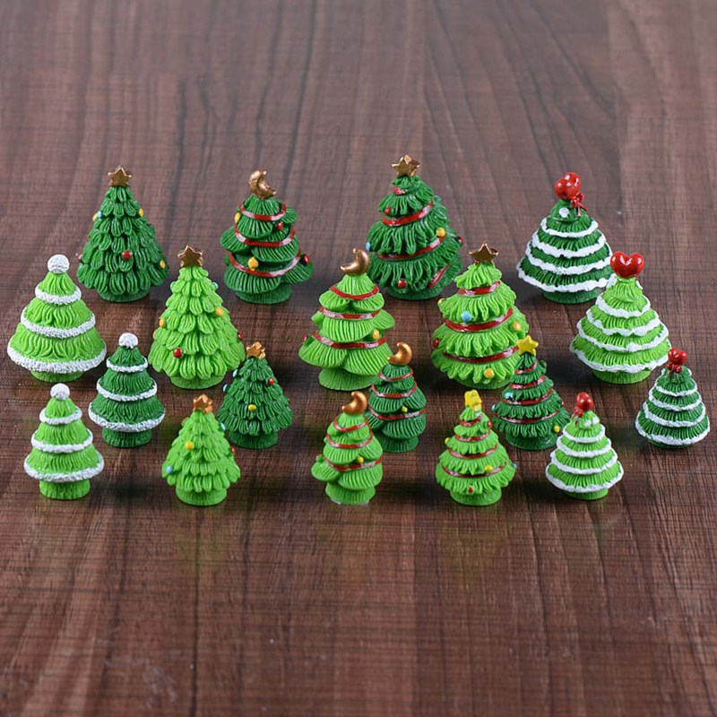 christmas tree miniature figurine mini christmas decoration for home kawaii diy fairy garden ornaments resin craft