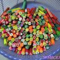 HOT! frete Grátis 50pcs-Mixed 1 cm Big Fruit Cane Fantasia Nail Art Mista Polymer Clay Canes