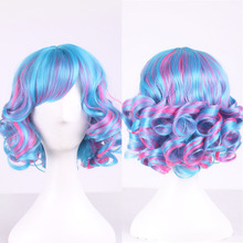 High Quality Mix Blue Pink Short Curly Wig With Bangs Halloween Costume Synthetic Hair Cosplay Wig For Women High Temperature high quality free shipping japanese gintama wig hasegawa taizou short hair cosplay wig