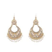 Rhinestone Pearl Earrings For Women Gold Hollow Tassel Drop Statement Earrings  Wedding Party Fashion Jewelry a suit of gorgeous fake pearl rhinestone hollow out flower necklace and earrings for women