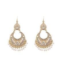 Rhinestone Pearl Earrings For Women Gold Hollow Tassel Drop Statement Earrings  Wedding Party Fashion Jewelry pair of stunning faux pearl rhinestone drop earrings for women