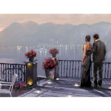 Full square diamond 5D DIY diamond embroidery couple look at the scenery diamond painting cross stitch rhinestone mosaic YY(China)