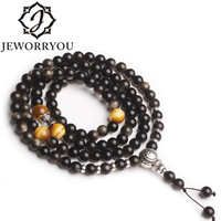 6/8mm 108pcs Obsidian Natural Stone Bracelet Male Tiger's Eye Buddha Bracelet Charms Bracelet Women Gift