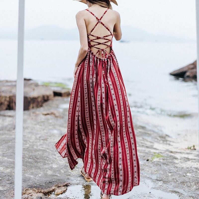 Khale Yose Summer Maxi Dress Backless Boho Chic Women s Beach Dress Red Spaghetti Bandage Holiday