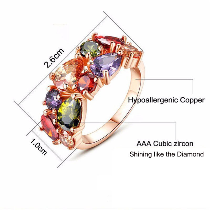 Manxiuni New Top Rose Guldfärg Blommor Smycken Set Multicolor Cubic - Märkessmycken - Foto 2