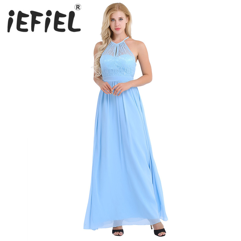 iEFiEL Elegant Women Ladies High Neckline Halter Lace Floral Sleeveless A-line Chiffon Bridesmaid Wedding Party Formal Dress