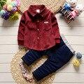 Boa qualidade 2017 Primavera Do Bebê Meninos Ternos Infantil Casual Lapela Shirt + Calças 2 Pcs Crianças de Algodão Conjuntos de Roupas de Moda crianças Ternos