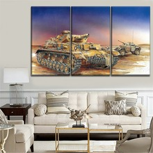 цена на One Set Modular Style Picture Modern On The Wall Decorative 3 Panel Military Panzer IV Tank Retro Oil Painting Unique Artwork