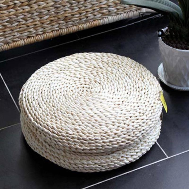 Handmade Seat Cushion Corn Straw Saddle Bay Window Seat Cushion Put On Carpet Cream White Tatami