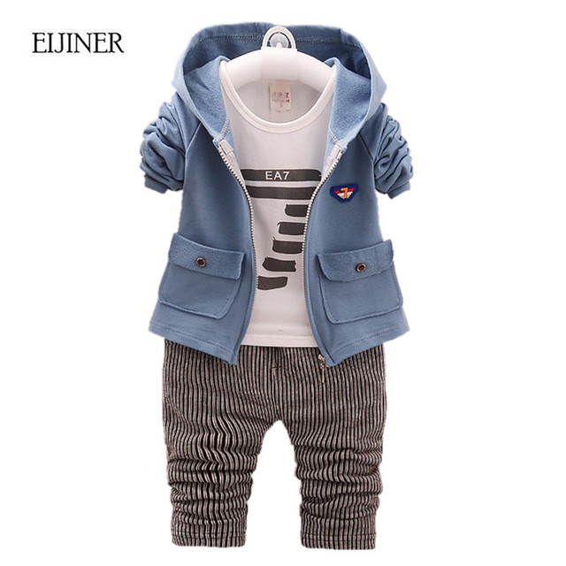 3pcs Baby Boy Clothing Set Spring Autumn 2017 New Hooded Boys Clothes Kids Clothes for Boys Digital Toddler Children Clothing