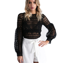 See Through Long Lantern Sleeve Hollow out Black Lace Blouse Sexy Casual Club Party Women White Shirt