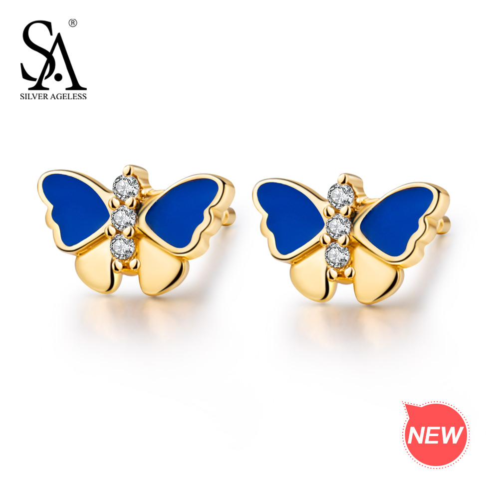 SILVER AGELESS 9K Yellow Gold Butterfly Stud Earrings for Women AAA Zirconia Earrings Animal Gold Stud Earrings Earrings Set pair of stylish rhinestone triangle stud earrings for women