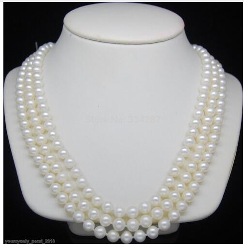 Cadeau femme breloque d'eau douce accessoire argent brillant> Triple brin fin 7-8mm AAA blanc perle colliers 16