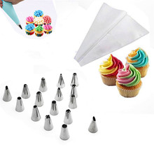 18Pcs Cake Decorating Tips Set Icing Piping Cream Pastry Bag + 16 Stainless Steel Nozzle + 1 Coupler Free Shipping