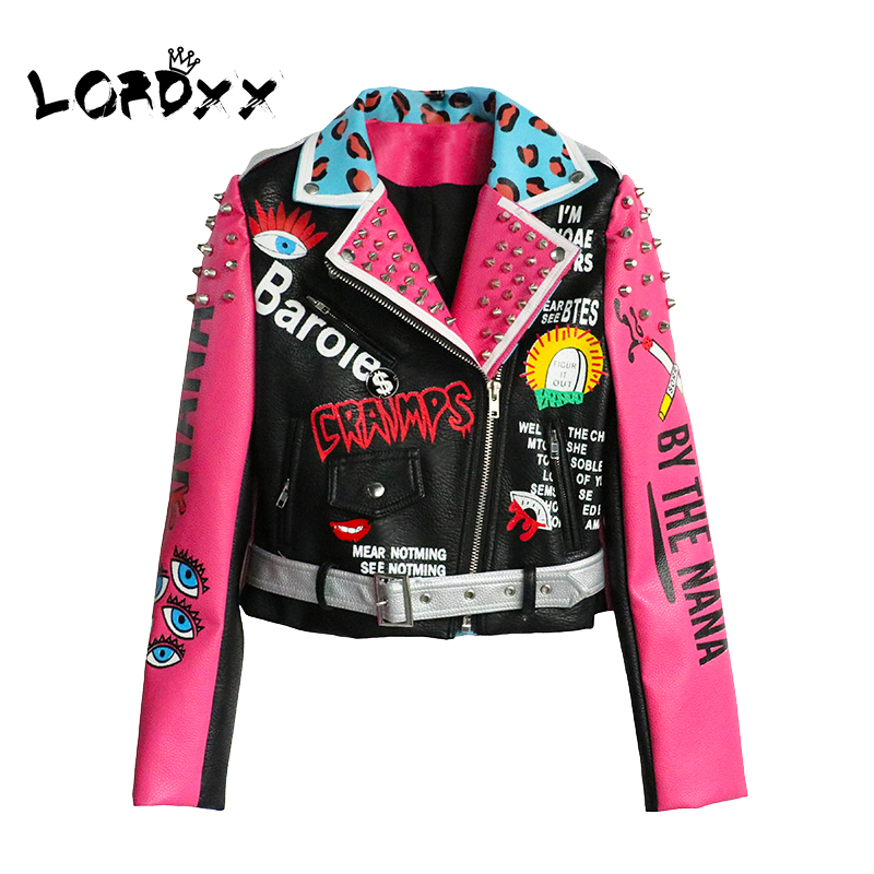 Jacket Belt Women Streetwear Autumn Fashion Multicolor LORDXX Coats Punk Club with Motorcycle