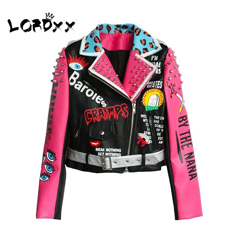 Mulheres Jaqueta de Couro Streetwear LORDXX Clube Cropped Jacket Com Cinto Multicolor Do Punk 2018 Moda Outono Motocicleta Casacos