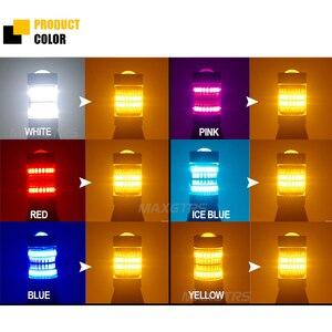 Image 5 - 2x T20 7440 W21W 96 SMD 3014 araba Led ışık gündüz farı + dönüş sinyali çift modlu Canbus DRL LED sis dış işıklar