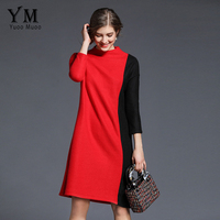 YuooMuoo Spring And Autumn Loose Women Knitted Dress Black Red Patchwork O Neck Three Quarter Sleeve
