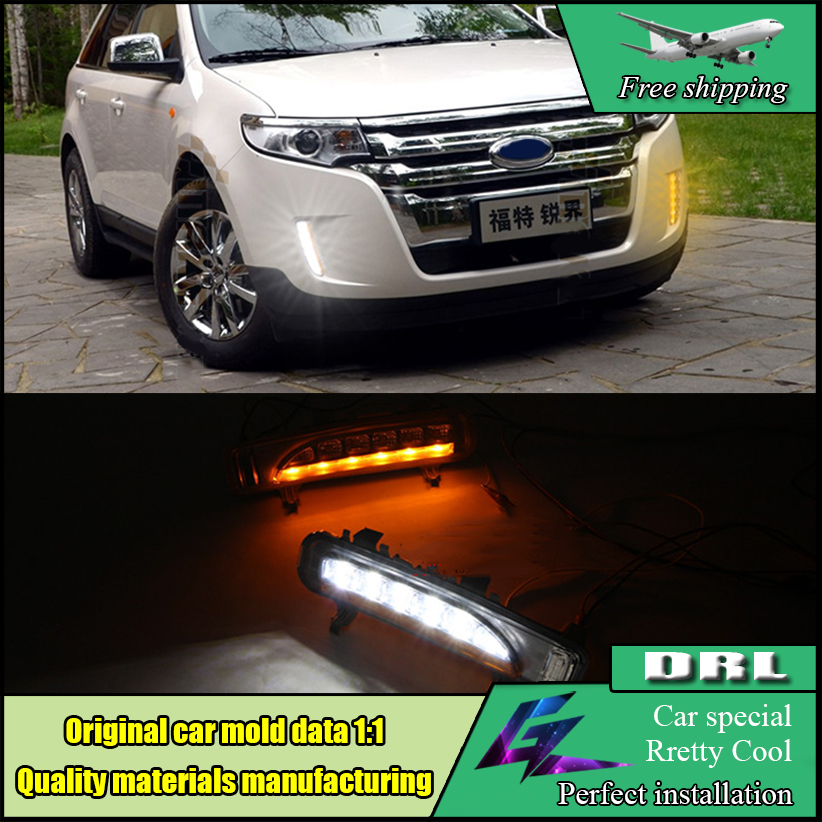 Car Styling LED DRL Kit Daytime running light For Ford Edge 2009-2013 With Turn yellow signal With 6LEDs fog lamp case auto parts 2 pcs for c hevrolet c ruze light guide 2009 2013 daytime running lights car styling