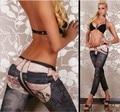 2016 Hot Sexy New Fashion denim belt Seamless black leggings printing nine Leguin Capris Gaiters Boothoses Legin