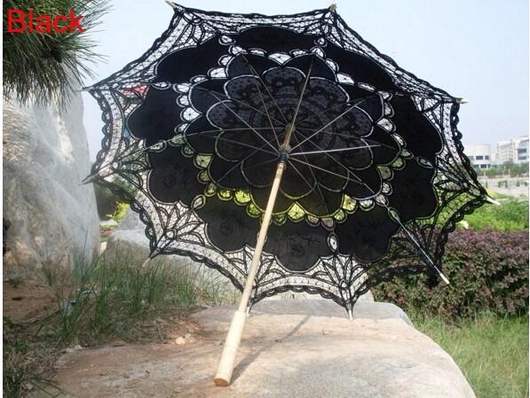 New Lace Umbrella Cotton Embroidery White/Ivory Battenburg Lace Parasol Umbrella Wedding Umbrella Decorations Free Shipping 18