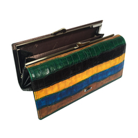 Genuine Leather Women Wallet Cowhide Stitching Hit Color Stripe Large Capacity Purse Clutch Bag Long wallets A147 9112