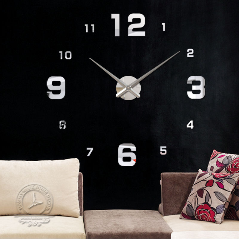 fashion 3D big size wall clock mirror sticker DIY clocks home decoration meetting room - YIWU MINO HOMEDCOR store
