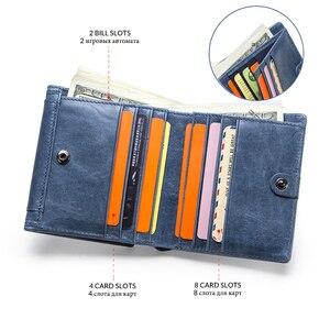 Image 3 - Contacts cartera de piel auténtica para mujer, monedero pequeño, monedero, tarjetero, Mini Portomonee