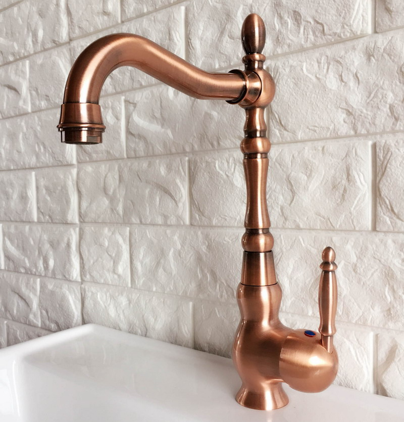 Antique Red Copper Brass Bathroom Kitchen Basin Sink Faucet Mixer Tap Swivel Spout Single Handle One Hole Deck Mounted Mnf423