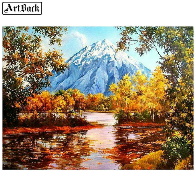 5d diamond painting tree mountain autumn landscape full square drill3d diamond embroidery handmade mosaic artwork