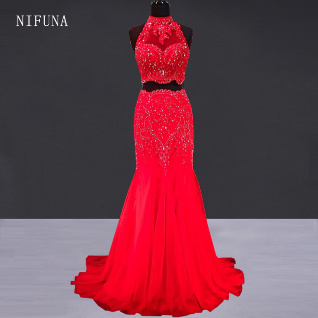 eac2964902 Sexy Two Piece Prom Dress for Black Girl Graduation Gown Luxury Crystal  Lace Mermaid Red Prom Dresses 2018 Long Party Dresses