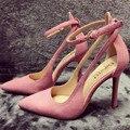 Cute Pink Punta estrecha Mujeres Bombas 10 CM Altos Talones Finos Ladies Suede Ankle Strap sandals Boda Vestido de Fiesta Zapatos Mujer de San Valentín zapato